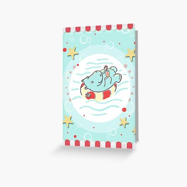Nilpferd im Schwimmreif - Markise Grußkarte