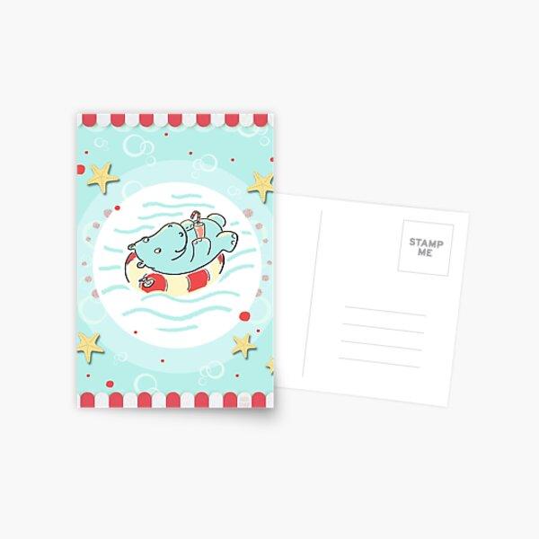 Nilpferd im Schwimmreif - Markise Postkarte