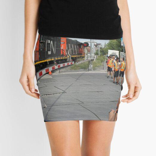 #Train, #railway, #railroad, #locomotive, #station, #transportation, #transport, #rail, #travel, #track, #engine, #diesel, #red, #platform, #old, #steam, #traffic Mini Skirt