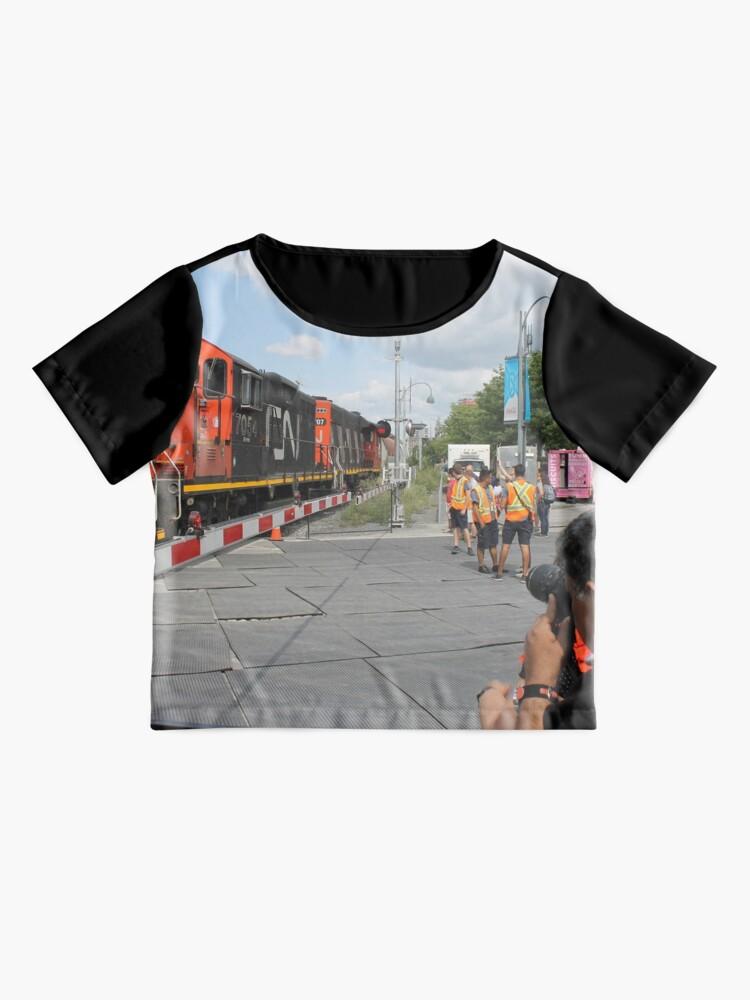 Alternate view of #Train, #railway, #railroad, #locomotive, #station, #transportation, #transport, #rail, #travel, #track, #engine, #diesel, #red, #platform, #old, #steam, #traffic Chiffon Top