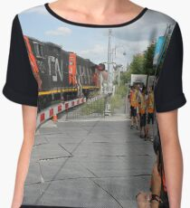 #Train, #railway, #railroad, #locomotive, #station, #transportation, #transport, #rail, #travel, #track, #engine, #diesel, #red, #platform, #old, #steam, #traffic Chiffon Top