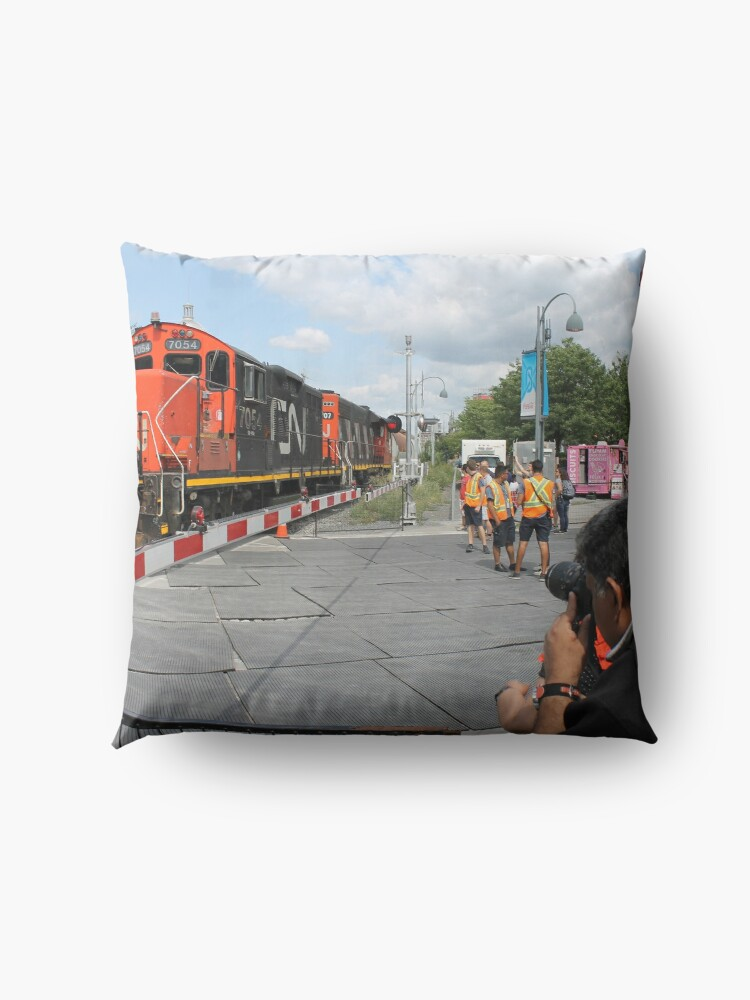 Alternate view of #Train, #railway, #railroad, #locomotive, #station, #transportation, #transport, #rail, #travel, #track, #engine, #diesel, #red, #platform, #old, #steam, #traffic Floor Pillow