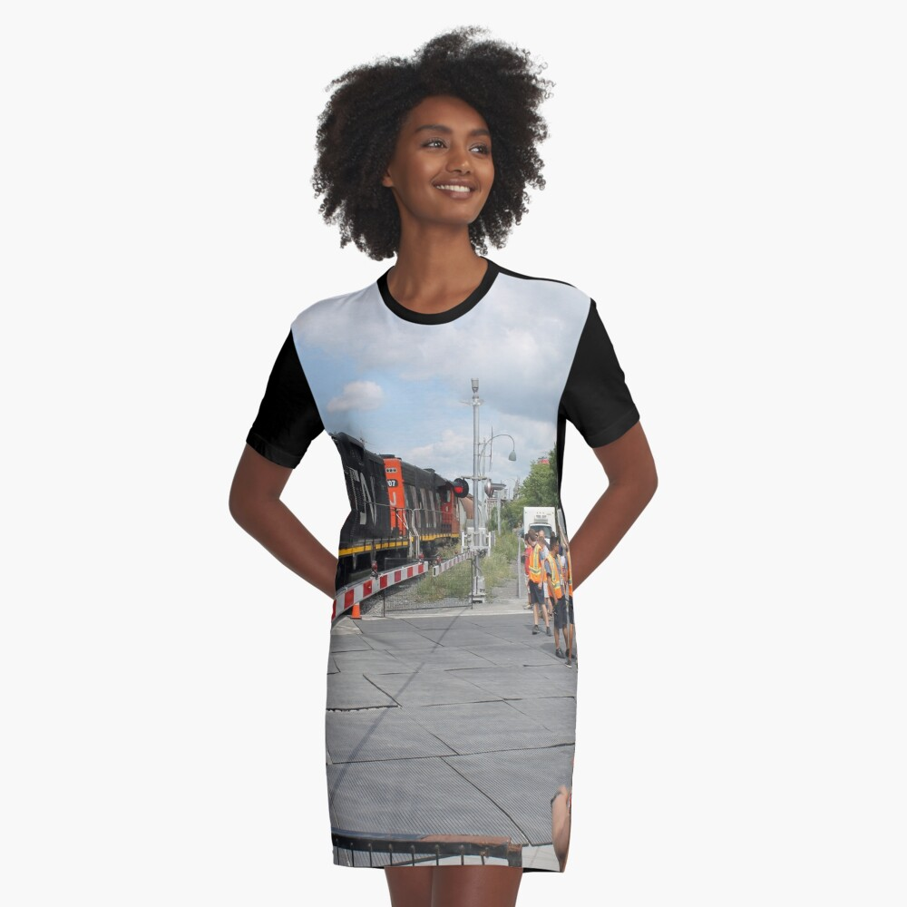 #Train, #railway, #railroad, #locomotive, #station, #transportation, #transport, #rail, #travel, #track, #engine, #diesel, #red, #platform, #old, #steam, #traffic: Graphic T-Shirt Dress