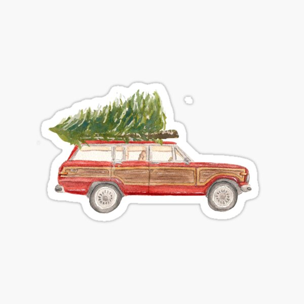 Watercolor Red Wood Wagon with Tree Sticker
