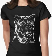 AKITA dog dog portrait Women's Fitted T-Shirt