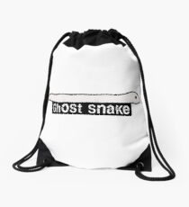 Ghost Snake, Cute original drawing by Derrick G. Wood, Reptile art. Ghost Animal #3 Drawstring Bag
