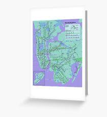 New York Subway Pop Art Map - Dark Purple / Blue Green - NYC - USA - HD Greeting Card