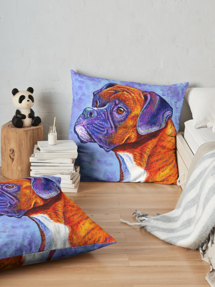 Alternate view of Devoted Guardian - Colorful Brindle Boxer Dog Floor Pillow