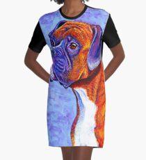 Colorful Brindle Boxer Dog Graphic T-Shirt Dress
