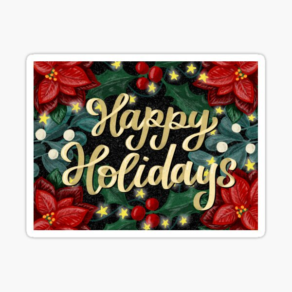 Happy Holidays Vintage Christmas Lettering and Illustration Sticker