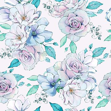 Purple and light blue vintage roses pattern by artonwear