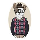 Hand Drawn Fashion Illustration of French Bulldog Hipster in colors by features2018