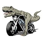 Tyrannosaurus Rex riding a classic chopper motorcycle. Vector illustration. by features2018