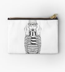 Hand Drawn Fashion Illustration of Doggy Hipster in one color isolated on white Studio Pouch