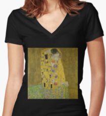 The Kiss by Gustav Klimt Women's Fitted V-Neck T-Shirt