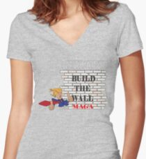 TRUMP Build the Wall MAGA  Women's Fitted V-Neck T-Shirt
