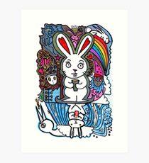 Umkehrbar über koffeinhaltigen Hasen mit Regenbogen und Freunden Kunstdruck