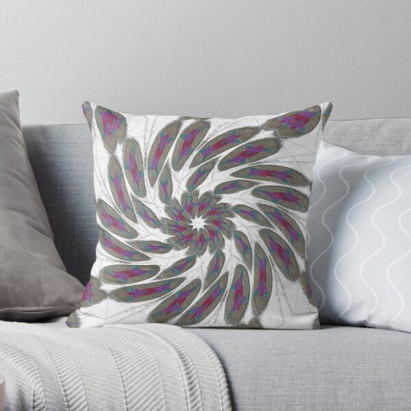 Golden Feathers in the Wind Fall Into Winter Collection at Green Bee Mee Throw Pillow