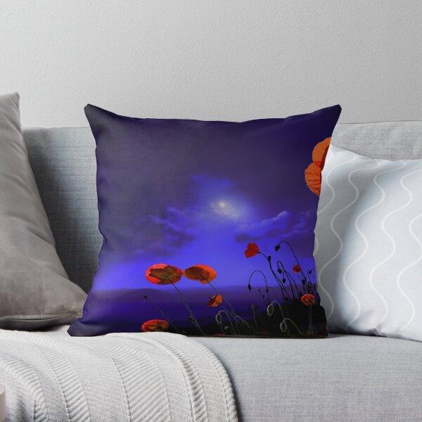 Poppies Blue Throw Pillow