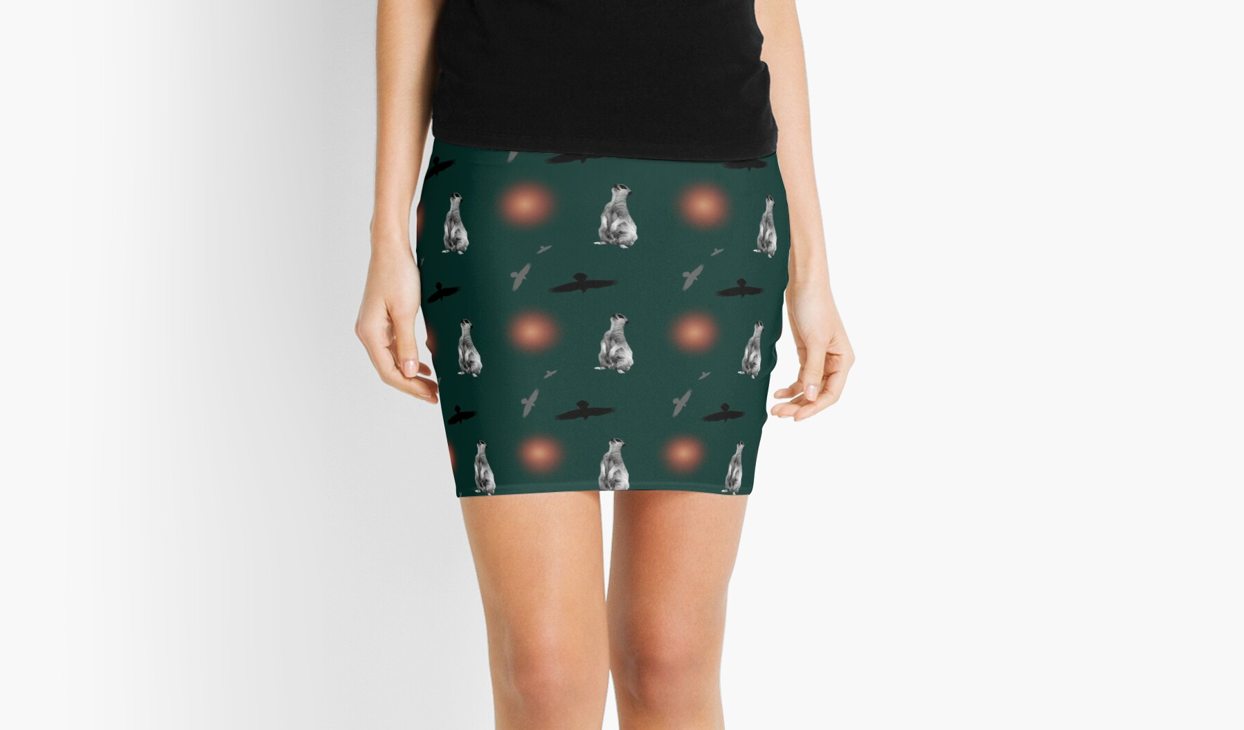 Meerkat, birds, and suns pattern on green by chihuahuashower