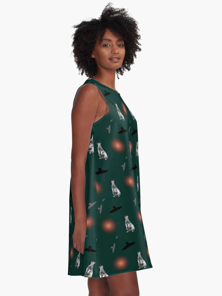 Alternate view of Meerkat, birds, and suns pattern on green A-Line Dress