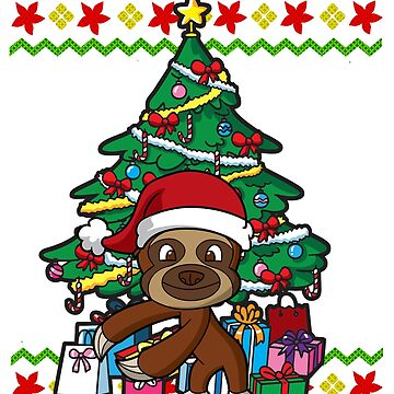 Sloth Flossing Around the  Christmas Tree Ugly Christmas by frittata