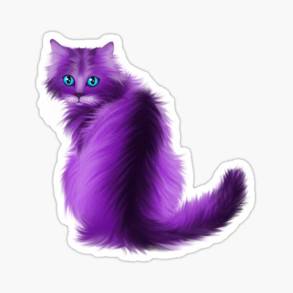 Striking purple and black cat Sticker