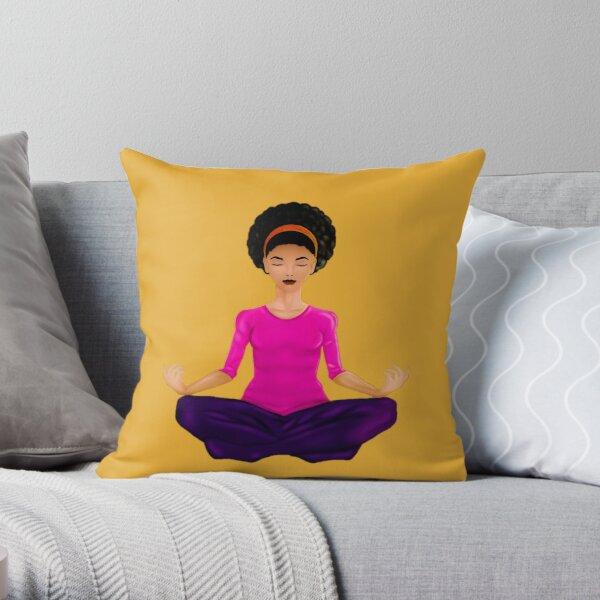 Natural curly hair Latina Meditating Woman Throw Pillow