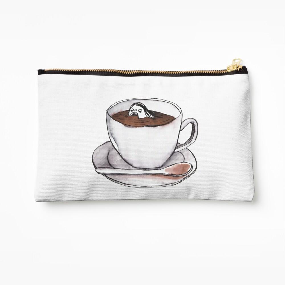 Caffeine addict tea and coffee cup illustration Zipper Pouch