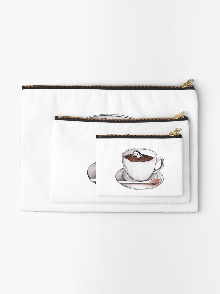 Alternate view of Caffeine addict tea and coffee cup illustration Zipper Pouch