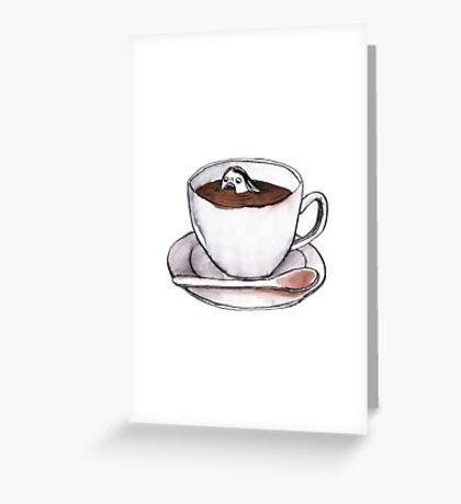 Caffeine addict tea and coffee cup illustration Greeting Card
