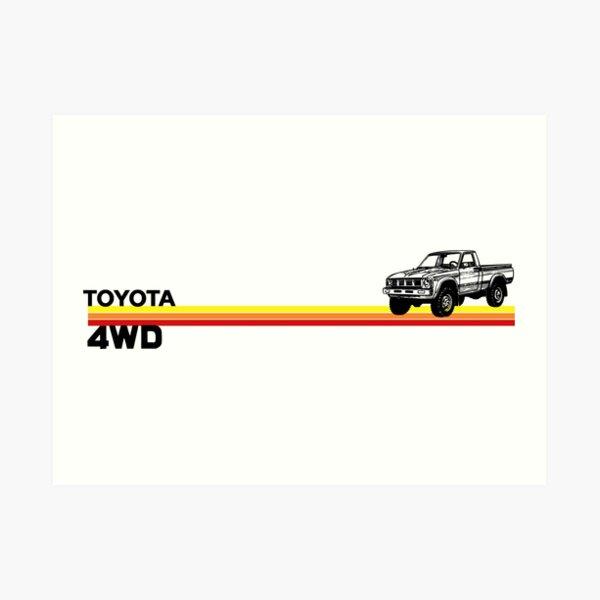 Toyota 4WD Truck Retro Stripes Art Print