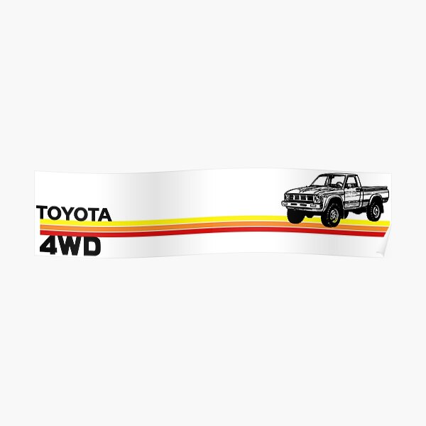 Toyota 4WD Truck Retro Stripes Poster