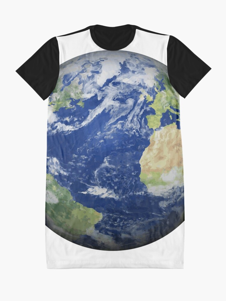 Alternate view of #map #sphere #environment #cartography #atmosphere #hemisphere #pollution #longitude #space #colorimage #planetspace #astronomy #360degreeview #wide #continentgeographicarea #physicalgeography Graphic T-Shirt Dress