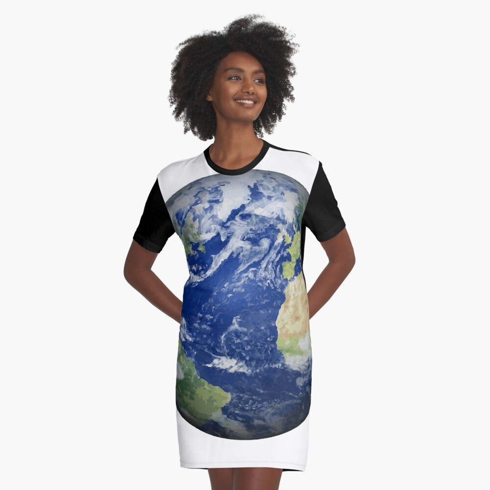 #map #sphere #environment #cartography #atmosphere #hemisphere #pollution #longitude #space #colorimage #planetspace #astronomy #360degreeview #wide #continentgeographicarea #physicalgeography Graphic T-Shirt Dress