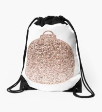 Rose gold Christmas bauble III Drawstring Bag