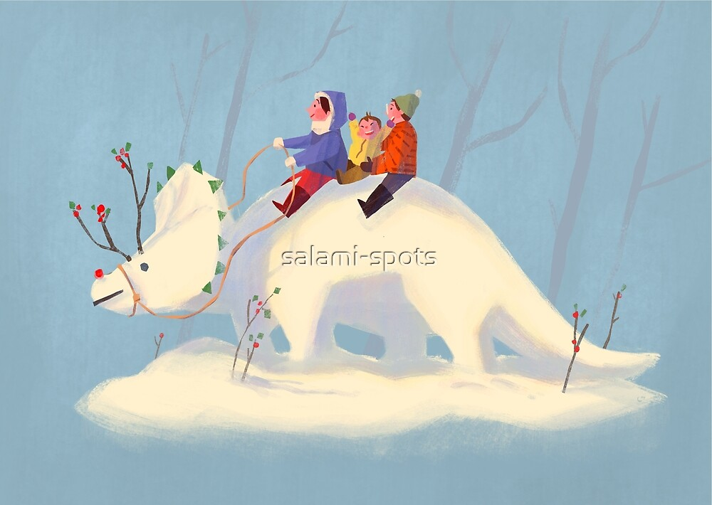 Snowy Triceratops by salami-spots