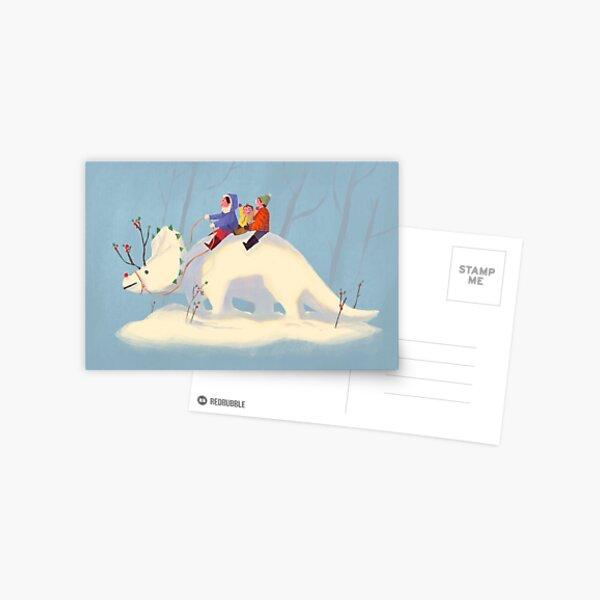 Snowy Triceratops Postcard