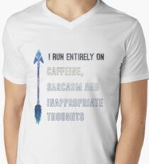 I run entirely on caffeine, sarcasm and inappropriate thoughts Men's V-Neck T-Shirt