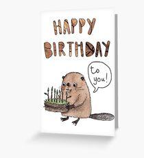 Alles Gute zum Geburtstag Biber Kuchen Grußkarte