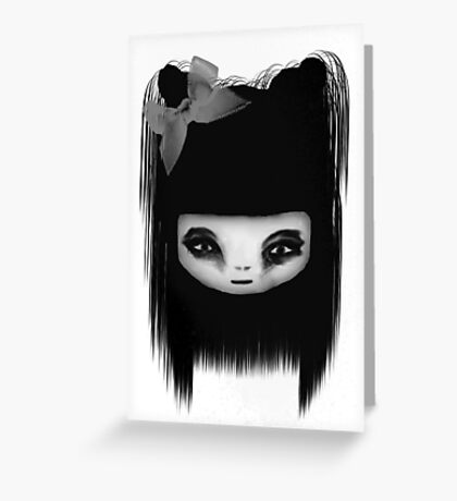 Little Scary Doll Black And White Greeting Card