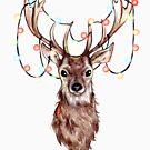 Deer in Christmas lights by EllenorMererid