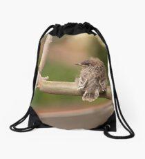 Juvenile Red Wattlebird Drawstring Bag