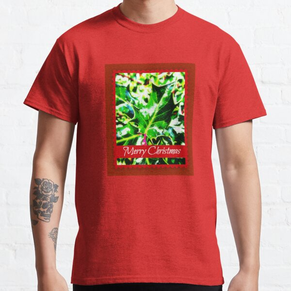 Merry Christmas Holly Plant Classic T-Shirt