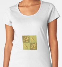 Fall Leaves on green squares Women's Premium T-Shirt