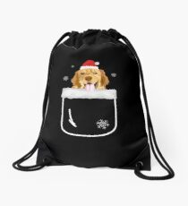 Golden Retriever In Your Front Pocket Funny Christmas Costume Drawstring Bag