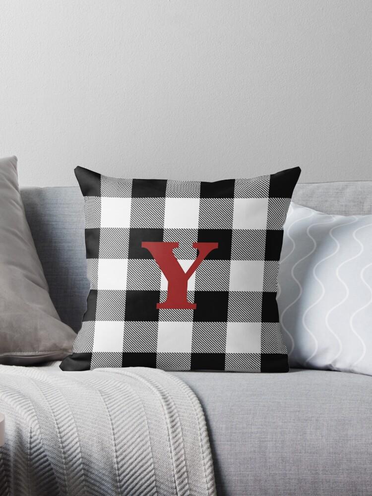 Prime Black And White Buffalo Plaid Letter Y Monogram Throw Pillow By Miriam Kokolo Short Links Chair Design For Home Short Linksinfo