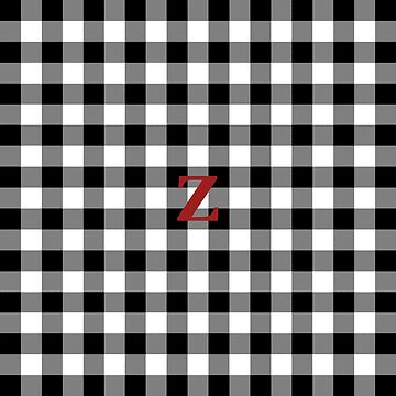Black and White Buffalo Plaid Letter Z Monogram by KokoloHG