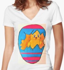 PEEK A BOO EASTER CHICK Women's Fitted V-Neck T-Shirt