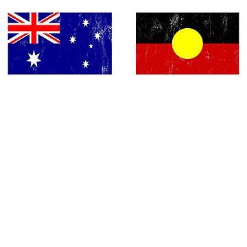 Australia Flag T-Shirt Cool Australians Aboriginal Flags Tee by noirty